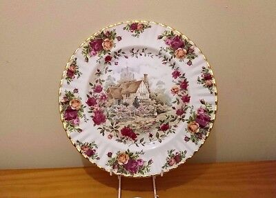 Very Rare Royal Albert England Old Country Roses Cottage  Large Plate