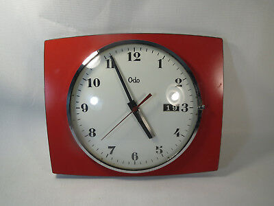 ANTIQUE PENDULUM clock ODO VINTAGE DESIGN FORMICA RED DECO LOFT clock