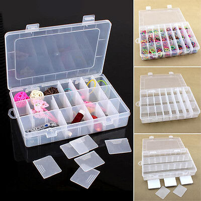 24 COMPARTMENTS PLASTIC Case Box Jewelry Bead Storage Container