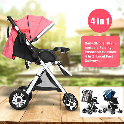 4 in1 Baby Kid Stroller Pram&Bassinet Newborn jogger Folding Pushchair Travel AU