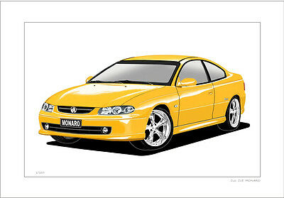 Holden  Cv6  Cv8  Monaro  Limited Edition Car Drawing Print  ( 6 Car Colours)