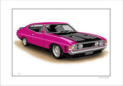 Ford  Xa  351Gt  Falcon Coupe Limited Edition Car Drawing Print (8 Car Colours)