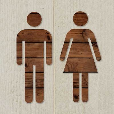 Toilet Door Man & Woman Symbol, Bathroom Sign,Wood Effect Design,Toilet Loo Sign