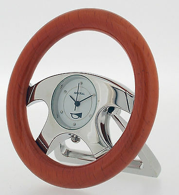 Novelty Miniature Steering Wheel Clock in Chrome and Cherrywood Finish