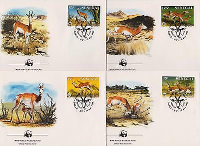 Senegal 1986 World Wildlife Fund - Dama Gazelle - 4 First Day Covers - (93)