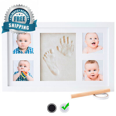 Baby Handprint Kit by Little Hippo – DELUXE SIZE + NO MOLD! Picture Frame...