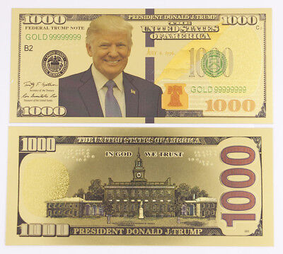 On sale!Gold Plated Trump $ 1,000 dollar Banknotes Crafts Creative Gift New