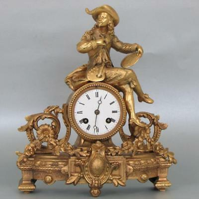 BEAUTIFUL ANTIQUE FRENCH MANTEL CLOCK gilt metal figurative rococo case SERVICED