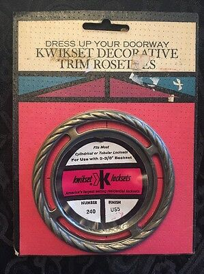 Vintage 1960s Kwikset Antique Brass Trim Plate Rosette Escutcheon 240 US5 MCM