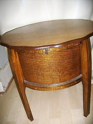 Antique Oak Sewing Drum Side Table Gold Velvet Lining,Scallop Edge Top