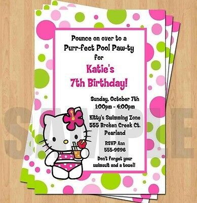 POOL PARTY Birthday Party Invitation 1500 PicClick