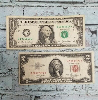 Estate Lot of STAR Notes $1.00 AND $2.00 - STAR Note Paper Money - FREE SHIPPING