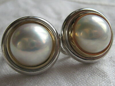 fa0c8d5ff TIFFANY & CO PALOMA PICASSO 18K GOLD & STERLING SILVER MABE PEARL EARRINGS  80's