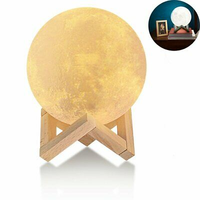 15CM USB 3D Printed LED Moon Night Dimmable Light Touch Rechargeable Table Lamp