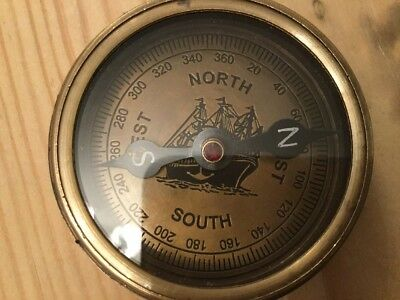 Antique Vintage Style  Brass  Compass 100 Year Calender Nautical World Times