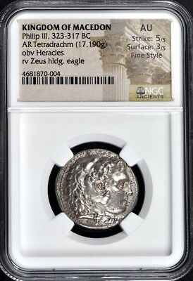 Philip III, 323-317 BC KINGDOM OF MACEDON AR Tetradrachm NGC AU50