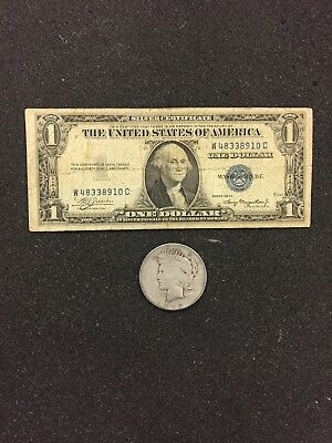 1935 Silver Certificate & PEACE  SILVER DOLLAR 90% SILVER - FREE SHIPPING