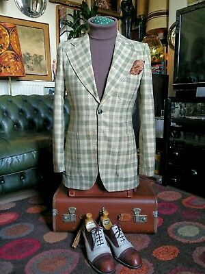 Vintage 70s Worsted Wool Check Single button Mod Jazz Sports Jacket Blazer.Small