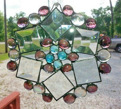 Stained Glass SNOWFLAKE or STAR Sun Catcher6in x 6in  NEW BLUE PURPLE BEVELS