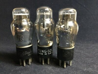 LOT Of (3) #76 Radio VACUUM TUBES (2) RCA (USN CRC) (1) TUNG Sol Tested #11.6039