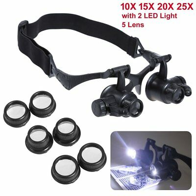 Headband Head Magnifier with 2 LED Lights hands free Magnifying glass Lamp 5Lens