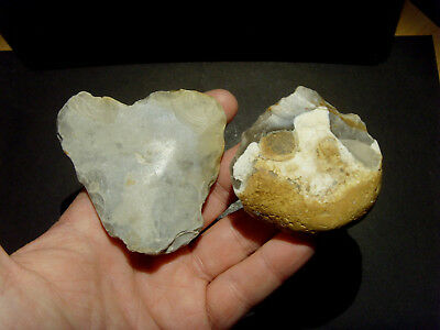 Lower Palaeolithic - Two early Acheulean pebble scrapers  - Rare UK C.350,000 BP