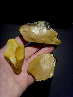 Lower Palaeolithic - 3 Acheulean scrapers  - Rare UK C.350,000+ BP