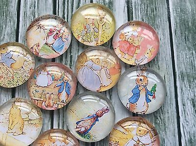 10 x Beatrix Potter Handmade Dome Cabochons 25mm for jewellery making, scrapbook