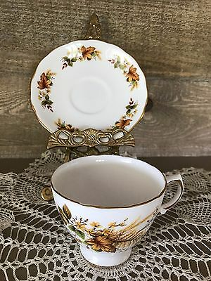 Royal Vale Tea Cup and Saucer Autumn Leaves and Yellow Flowers