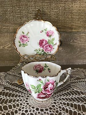 C&E Victoria Vintage Bone China ROSE Scalloped Cup and Saucer England