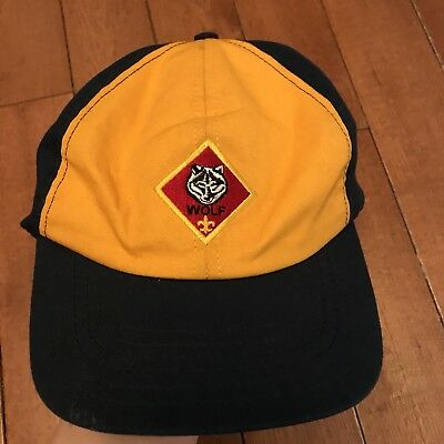 Cub Scout Wolf Hat Blue Yellow Cap BSA Youth Hat, Adjustable Medium Large