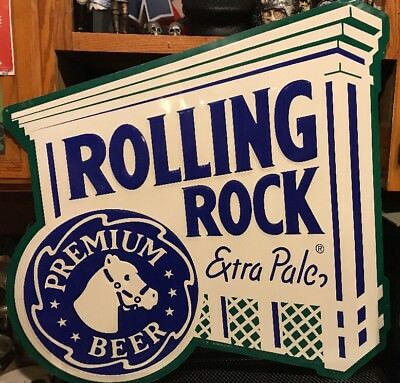 "ROLLING ROCK BEER ~ HUGE 35"" x 34"" ~ Extra Pale Horse Logo Advertising Sign"