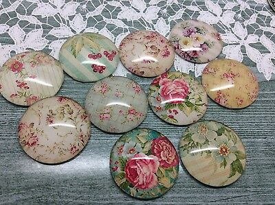 10 x Vintage Floral Handmade Dome Cabochons 25mm jewellery making scrapbook