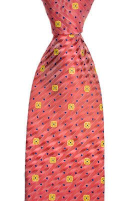 "Mens BRIONI Italy Red Jacquard Herringbone Floral Woven 3.25"" Silk Neck Tie NWT"