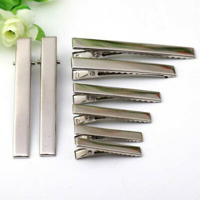 50Pcs Hair Clips Plated Silver Crocodile Alligator Clips Findings For Bows DIY