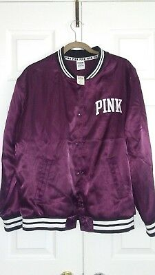 b527d0cbe VICTORIA'S SECRET PINK Satin Bomber Jacket Snap Buttons Black Orchid Medium  NWT