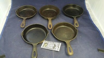Vintage Cast Iron #3 Lot of 5 Skillets Mixed Wagner Classic USA Made