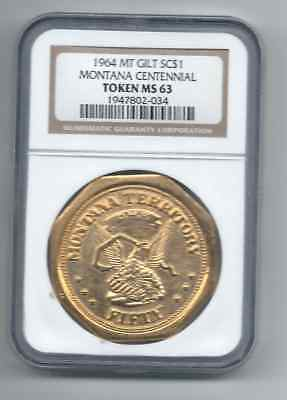 1964 Montana Centennial Octagonal Slug  Ngc Ms 63 Hk Unlisted So Called Dollar