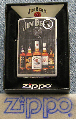 ZIPPO  JIM BEAM Lighter BOTTLES Bourbon LOGO Red Black Kentucky WHISKEY No Lid