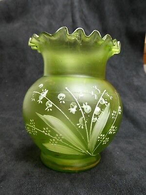 FROSTED GREEN SATIN 19th C. VASE MOUTH BLOWN HAND PAINTED LILY OF THE VALLEY