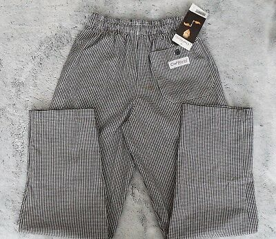 NWT Chef Works Black & White Gingham Baggie Pants Size Small