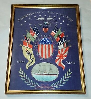 Antique 1900 Silk Embroidered Souvenir My Cruise to the Philippines Japan China