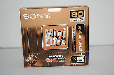 Sony MiniDisc Mini Disc 80 Premium Gold Shock Absorbing MDW80D 5 pack