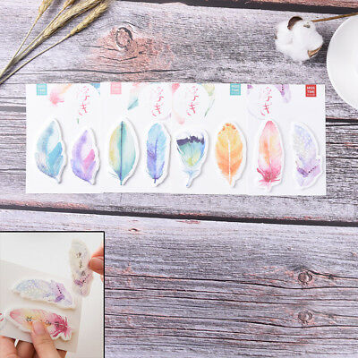 1Pc feather Sticky Notes Kawaii Memo Pads Sticker Bookmark Marker Flags Stic GT