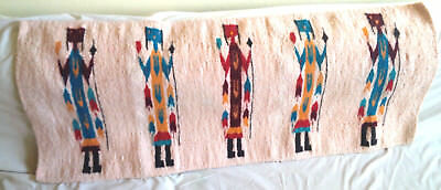 "Vintage Granado Indian 5 Yei Warriors Figural Rug 61 1/2"" X 26"""
