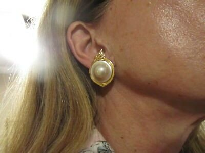 Fine Mabe Pearl Earrings 14k Gold With Diamonds