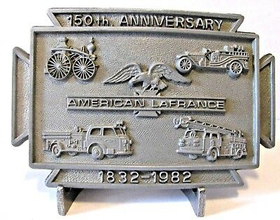 American LaFrance Fire Engine Pumper Truck 150th Anniversary Belt Buckle 1982