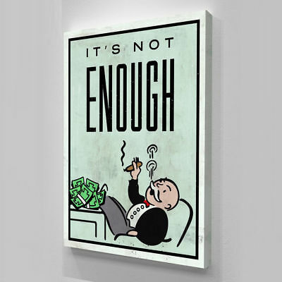 Alec Monopoly Hand-Painted Oil Painting Canvas art wall decor It's Not Enough 36