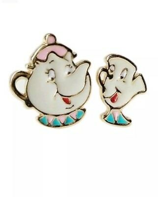 Beauty And The Beast Earrings Mrs pots and Chip set golden colour