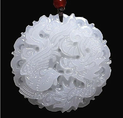 Natural Hand-carved Chinese Hetian Jade Pendant - Dragon Phoenix PhoenixNatural